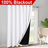 Cheap RYB HOME Patio Door 100% Blackout Curtains Full Shaded Light Block Room Darkening Super Soft Window Treatment Panels with 2 Layer for Large Window Dressing, W 100 x L 84 -inch, Pure White