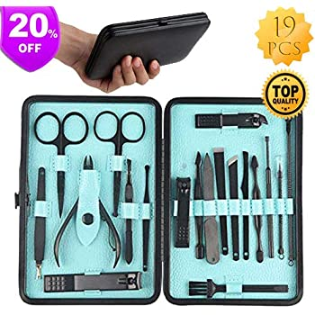Professional Manicure Set Nail Clippers Kit Pedicure Care Tools-Stainless Steel Men, Pedicure Kit, Nail Clippers, Professional Grooming Kit, Nail Tools with Luxurious Travel Case, Whimsyyy Set of 19 ^