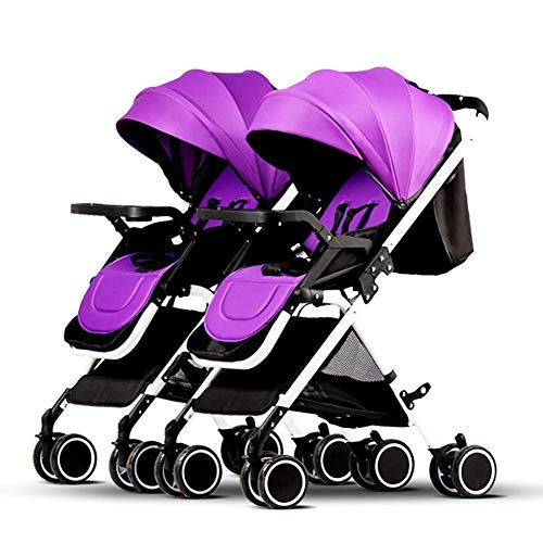Baby strollers Xinjin Foldable Twin, Portable Double Pushchairs Adjustable Backrest Detachable Ultra Light Shock Tandem Toddler Trolley