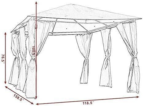 Cypressshop10x13 - Toldo de toldo para Tienda de campaña, Marco de Acero con Paredes Gris para Fiesta Boda: Amazon.es: Jardín