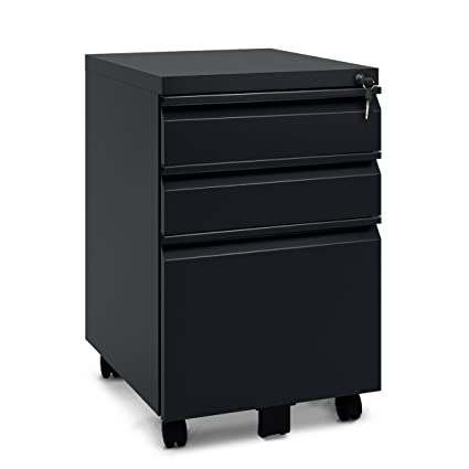 DEVAISE 3 Drawer Mobile Metal File Cabinet With Lock (Classic Style  Black)