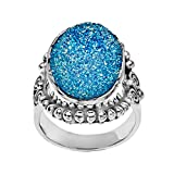 6 3/4 ct Azotic Aqua Druzy Ring in Sterling Silver