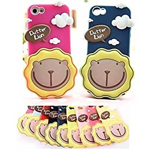 iPhone 5S Case, WKell Cream lion Cartoon Silicone Soft Case for iPhone 5/5S (Assorted Colors),Red
