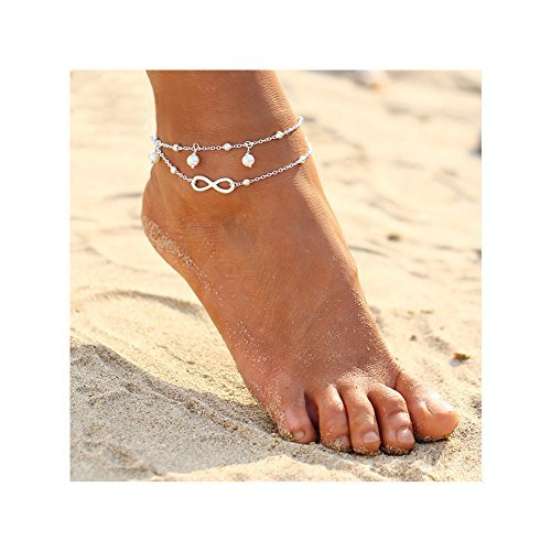 ZEALMER 2pcs Pack Boho Vintage Beads Tassel Anklet Retro Style Beads Flower Ankle Foot Chain Jewelry (Infinity Anklet)