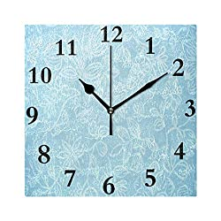 Rod Whitehead Wall Clock Baby Blue Floral PatternSilent Non Ticking Decorative Square Digital Clocks Quartz Battery Operated Square Easy to Read for Home/Office/School Clock 8 inch