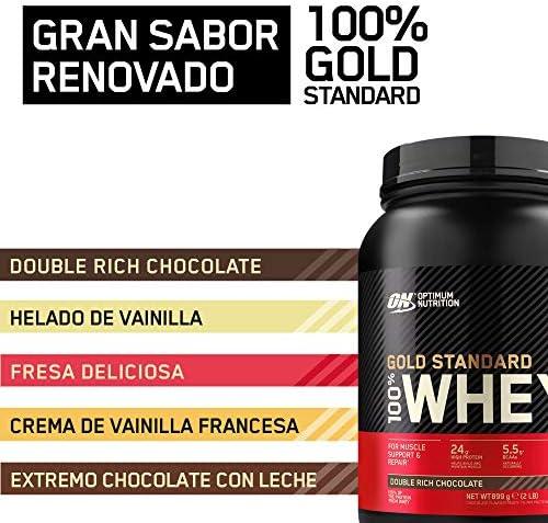 Optimum Nutrition Gold Standard 100% Whey Proteína en Polvo, Glutamina y Aminoácidos Naturales, BCAA, Double Rich Chocolate, 29 Porciones, 899 g, ...
