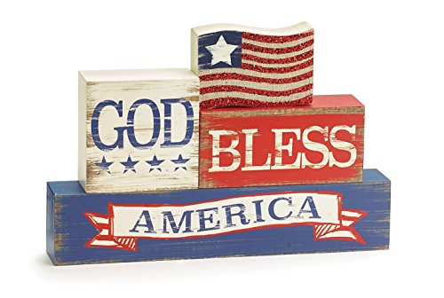 One Holiday Lane Patriotic Red, White, Blue God Bless America Shelf Sitter Sign - 4th of July -