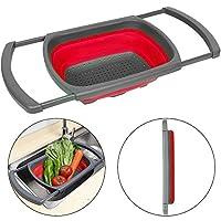 Senter scolapasta pieghevole per il lavabo, per verdura e frutta, colino con manico estensibile (verde e rosso)