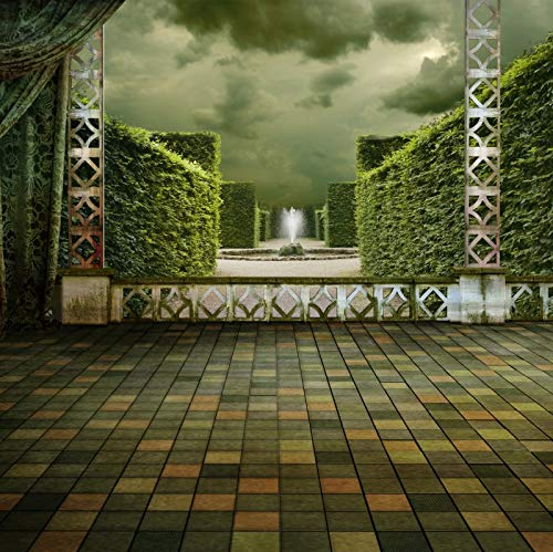 Baocicco 10x10ft Natural Green Lawn Wall Photo Backdrop Tile Floor Dark Clouds Statue Dark Green Curtain Background Black Wedding Children Adults Portrait Studio Shooting Props