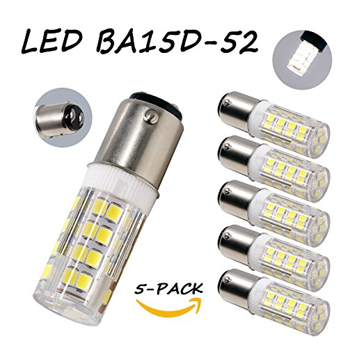 Ba15d Double Contact - Bxdgd Led BA15D Double Contact Bayonet Base AC110 120V 130V 4W Led Light Bulb, JD Type T3/T4/C7/S6 Halogen Replacement Bulb, Daylight 6000K Dimmable(5-Pack)