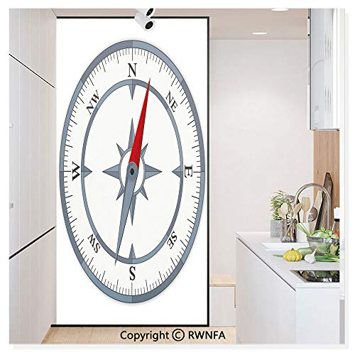 RWN Film No Glue Static Cling Glass Sticker Decorative,Minimalist Design Compass with Windrose Finding Your Way on The Sea Navigation 17.7