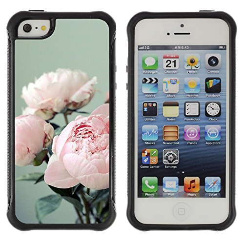 All-Round Hybrid Rubber Case Hard Cover Protective Accessory Compatible with Apple iPhone 5 & 5S - bouquet flowers floral pink