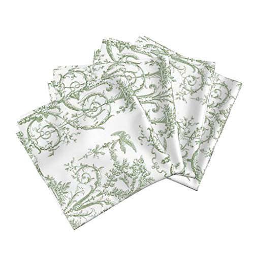 Toile Linen Cotton Dinner Napkins Pale Green White Traditional Home Decor Toile Green and White Rococo French Regency Georgian by Lilyoake Set of 4 Dinner Napkins