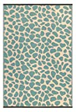 Outdoor/Light Weight/Reversible Eco Plastic Pebble Rug (4 x 6, Green/Sand)