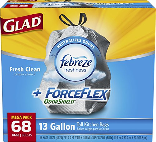 Glad ForceFlex OdorShield Tall Kitchen Drawstring Trash Bags, Fresh Clean, 13 Gallon, 68 Count