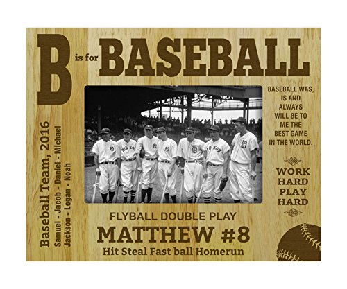 Engraved Wood Personalized Baseball Team Picture Frame With Names Gift- 5 x 7 Inches Horizontal (Baseball Pictures Team)
