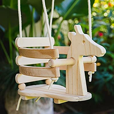Wooden Swing Set for Toddlers - Smooth Birch Wood with Natural Cotton Ropes Outdoor & Indoor Swing - Eco-Conscious Toddler Bucket Swing Chair, For Baby 6 Months to 3 Years Old