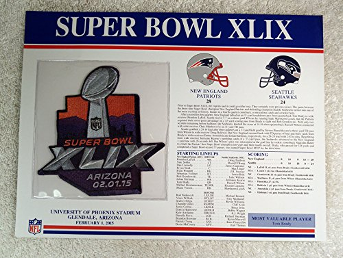 Super Bowl Xlix  2015    Official Nfl Super Bowl Patch With Complete Statistics Card   New England Patriots Vs Seattle Seahawks   Tom Brady Mvp