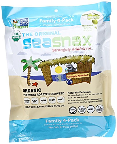 SeaSnax Roasted Seaweed Snack Organic, Family Pack of 4, 2.16 Ounce Total by SeaSnax