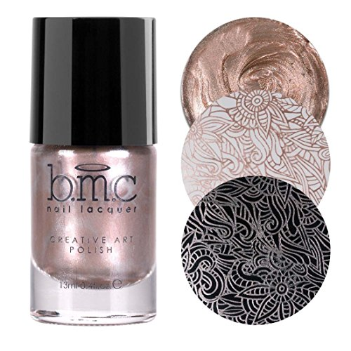 BMC Snowflake Waltz Collection: Magic Hour - Champagne Pink Gold Shimmer Creative Art Stamping Polish ()