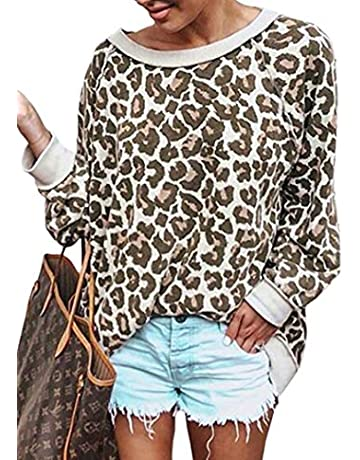 8621aff5a ECOWISH Women's Casual Leopard Print Pullover Long Sleeve Sweatshirts Top  Blouse Coffee M
