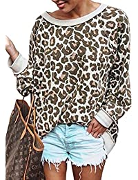 Women's Camouflage Print Casual Leopard Pullover Long Sleeve Sweatshirts Top Blouse