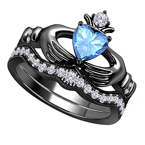 Women's 14k Gold Rhodium Plated Alloy White/Yellow/Rose/Black 1.00CT Heart Cut Created Tanzanite & Cubic Zirconia Round Wedding Band & Crown Engagement Claddagh Bridal Ring Set ()