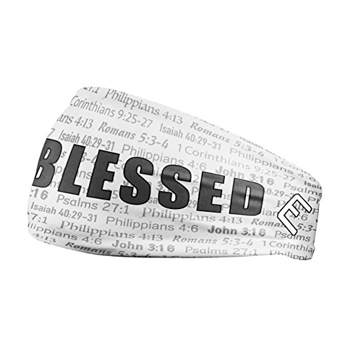 Unisex Headband / Sweatband. Best for Sports, Fitness, Working Out, Yoga. Tapered Design. (WHITE BLESSED)