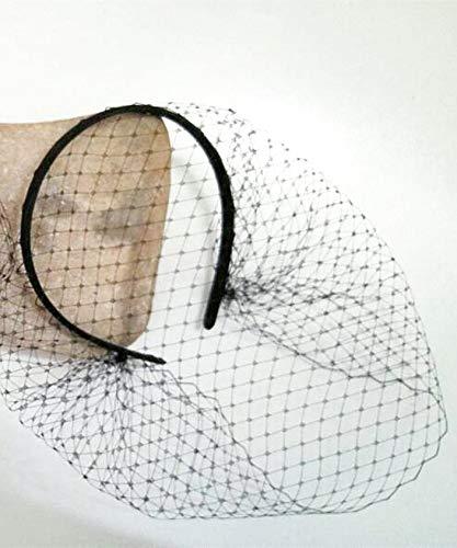 Culturemart Black Fascinator Veil Headband Jennifer Lawrence Black Birdcage Veil Gothic Bride Masquerade Ball Veil]()