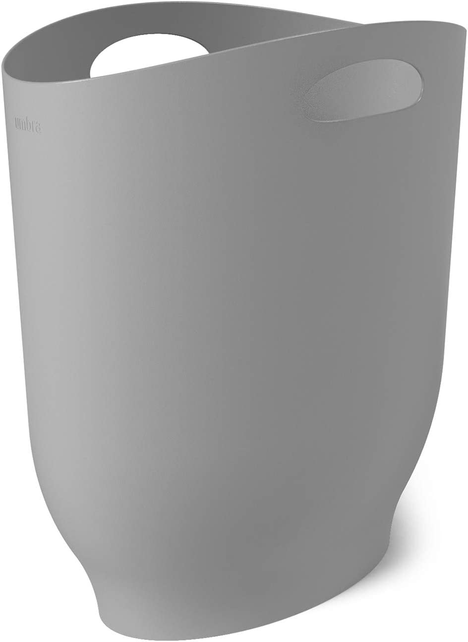 Umbra 1012181-918 , Grey Harlo Sleek & Stylish Bathroom Trash, Small Garbage Can Wastebasket for Narrow Spaces at Home or Office, 2.4 Gallon Capacity,7 x 13 x 12