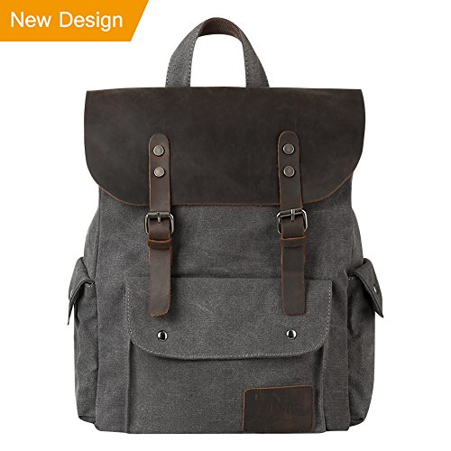 Laptop Leather Load Top (P.KU.VDSL Canvas Leather Backpack, 15