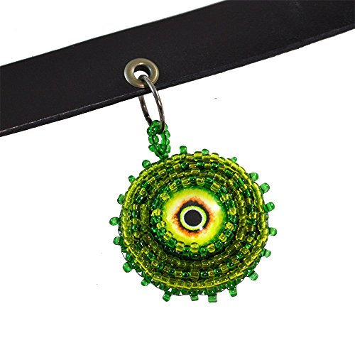 [Green Monster Evil Eye Leather Gothic Goth Choker Necklace Authentic Handmade Genuine Horror Halloween] (Dominatrix Halloween Costumes)
