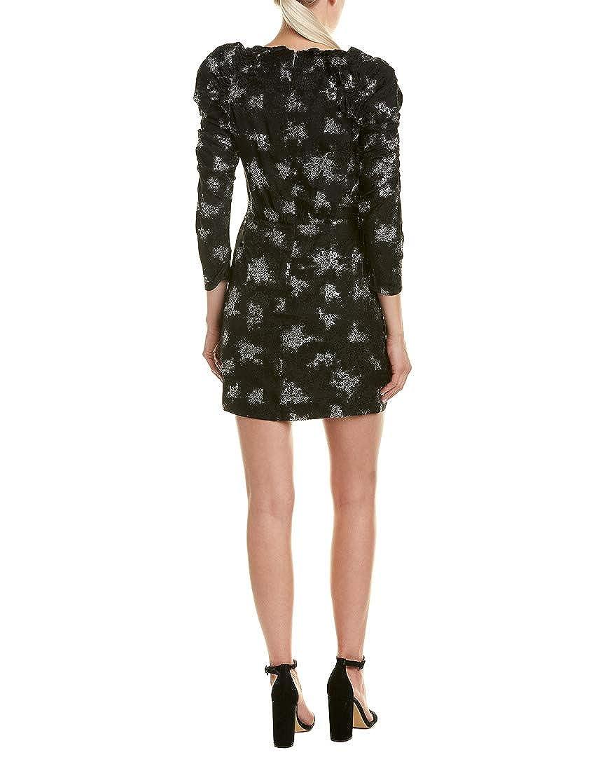 Black Rebecca Taylor Womens Glitter-Trim Silk Cocktail Dress
