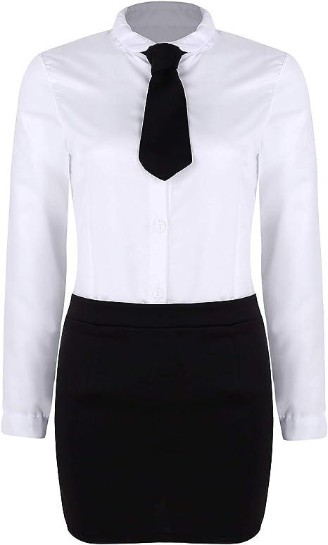 CHICTRY Disfraz de Secretaria para Mujer, Uniforme de Oficina, Juego de 3 Piezas Camisa Blanca + Minifalda + Corbata Juego de Roles Disfraz S M L Blanco y Negro S: Amazon.es: Ropa y accesorios