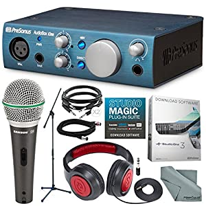 PreSonus AudioBox iOne 2×2 USB Audio Interface Recording System and Deluxe Bundle w/Samson Q6 Mic & SR360 Stereo…