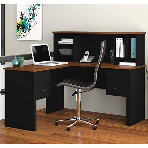 Bestar Furniture 45850-18 Somerville L-Shaped Desk with Hutch Simple Pulls and Scratch Stain and Burn Resistant in Black and Tuscany - Bestar Office Space Corner