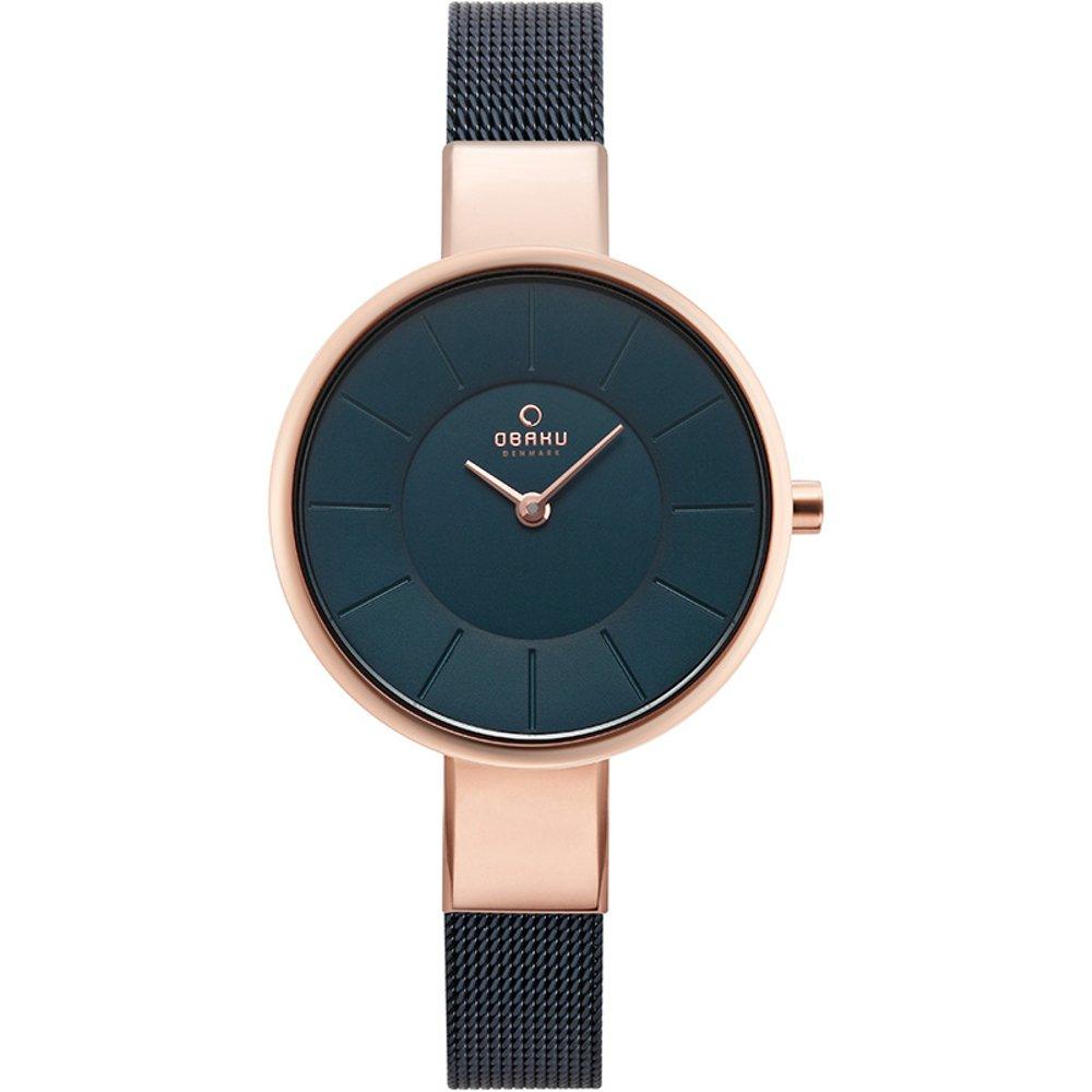 [オバック] OBAKU 腕時計 ウォッチ ブルー×ローズゴールド メッシュベルト シンプル レディース [並行輸入品] B079HPXZXJ