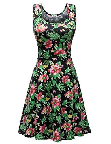 0534ed6f25dd Herou Women Sleeveless Beach Casual Flared Floral Tank Dress (Medium ...