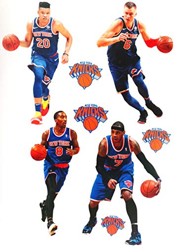 FATHEAD New York Knicks Mini Graphics Team Set 4 Players + 4 Knicks Logo Official NBA Vinyl Wall Graphics - Each Player 7