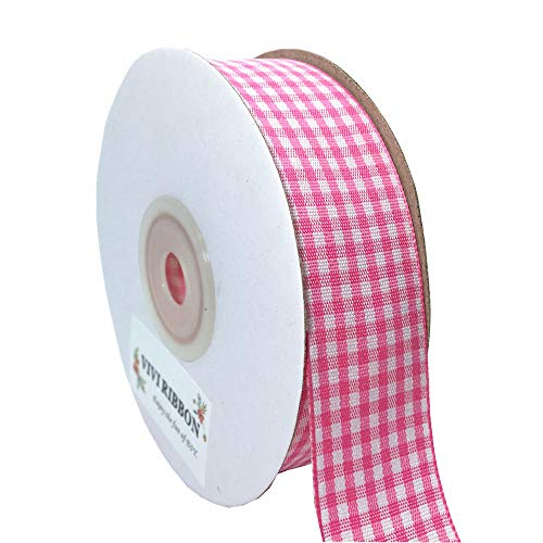 (Plaid Ribbon Gingham Ribbon Check Ribbon 1-Inch 25 Yard Each Roll 100% Polyester Woven Edge for Crafts, Gift Packing, Wedding Decoration (Pink))