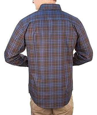 Thaddeus Mens PARK Long Sleeve Plaid Button Down Shirt with Button Chest Pocket Storm Blue
