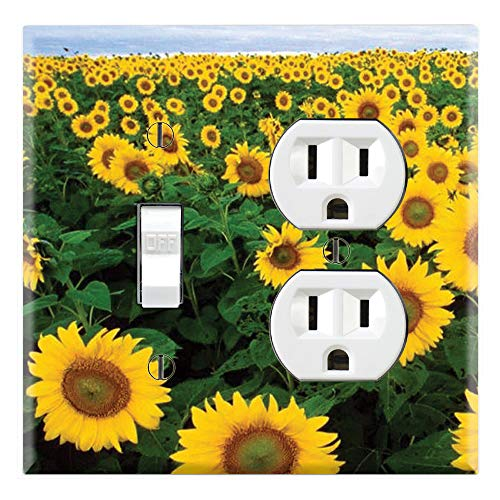 (Graphics Wallplates - Sun Flowers - Toggle Outlet Combo Wall Plate Cover)