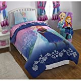 Frozen ''Nordic Frost'' Full Comforter, Sheet Set, and Bedroom Curtains