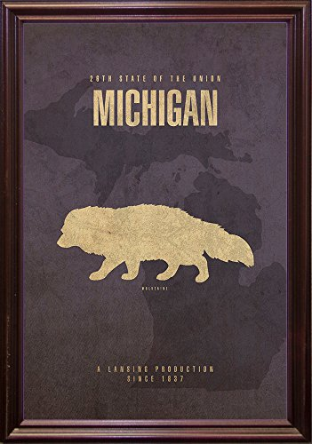 Michigan Poster Framed Print by Red Atlas Designs