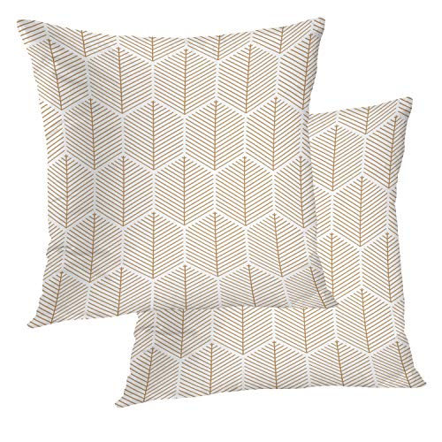 BaoNews Geometric Pillow Covers, Art Deco Fan Pattern Black and White Square 18 x 18 Inches Decorative Throw Pillow Covers Cotton Cushion for Sofa Bedroom Car, Black 02, Set of -