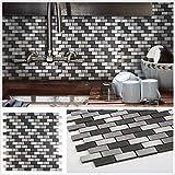 "12""x12"" Black and Grey Subway Hexagon Plaid Peel and Stick Tile Metal Backsplash for Kitchen Bathroom Stove Walls Self-Adhesive Aluminum Surface Metal Mosaic Tiles 3D Wall Sticker 5 Pack"