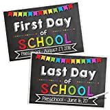 Katie Doodle First & Last Day of School Chalkboard Poster Sign Set [12'' x 18''] | Erasable, Customizable & Reusable 1st Day Memory Keepsake (Includes Chalk Writer)