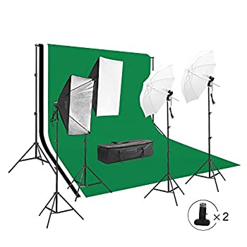 Image of Backgrounds 2828 Square Perfect Photography Studio LED Lighting and Background Kit Four Backdrops