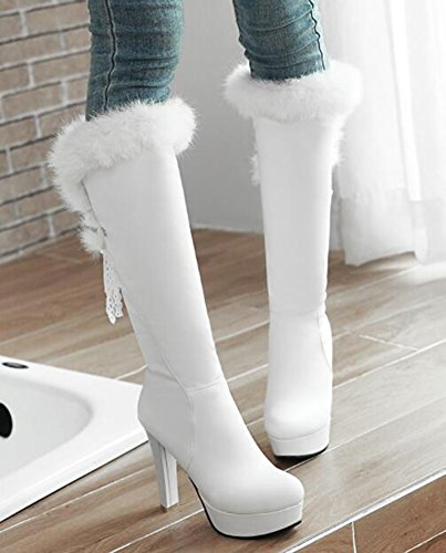 Idifu Womens Sexy Fourrure Duvet Plate-forme Haut Bloc Talons Lacer Jusquà Long Genou Haute Bottes Blanc