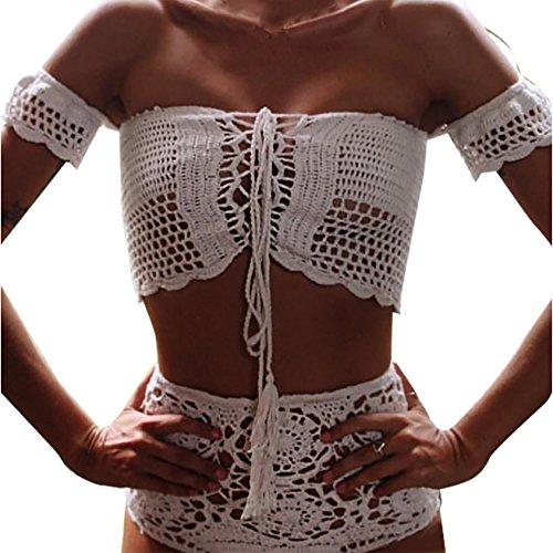 a579ef8ae94bc0 Damen Badeanzüge Bademode Badeanzug Bikini Trägerlos Durchbrochene Gehäkelt  Reizvoll Weiblichen Badeanzug Weiß YXgUIGHid